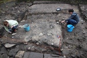 The guardhouse under excavation