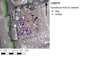 Figure 4. Distribution of Metalworking finds within the Guardhouse