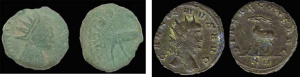 Image taken from the Portable Antiquities Website. Highlights the differences between a Barbarous Radiate (left) and Official Radiate of Gallienus